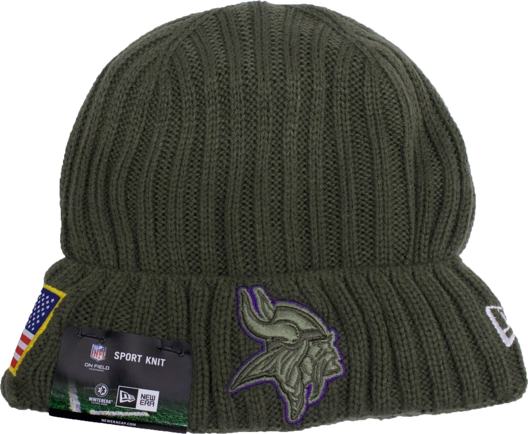 cae34abb5 ... top quality the minnesota vikings 2017 salute service beanie is solid  green d86c7 2060b
