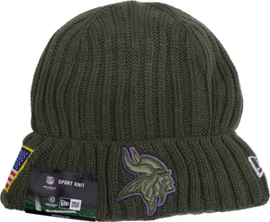 the minnesota vikings 2017 salute service beanie is solid green