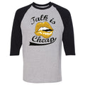 "Air Jordan 14 University Gold ""Reverse Ferari"" Sneaker Hook Up Talk Is Cheap Sport Grey and Black Raglan T-Shirt"
