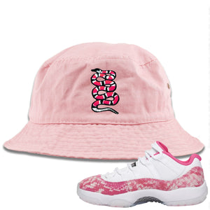 Air Jordan 11 Low WMNS Pink Snakeskin Sneaker Hook Up Coiled Snake Light Pink Bucket Hat