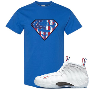 Nike WMNS Air Foamposite One USA Sneaker Hook Up Distressed Super Logo Royal Blue T-Shirt