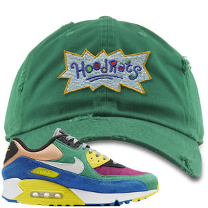 Nike Air Max 90 Viotech 2.0 Sneaker Hook Up Hoodrats Kelly Green Distressed Dad Hat