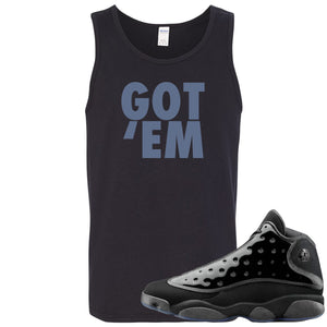 Air Jordan 13 Cap and Gown Sneaker Hook Up Got Em Black Mens Tank Top