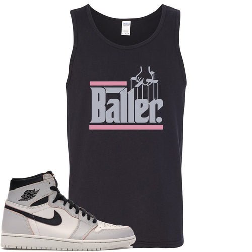 This black and purple tanktop matches great with your Nike SB x Air Jordan 1 Retro High OG Light Bone shoes