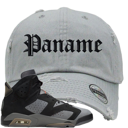 Air Jordan 6 PSG Sneaker Match Paname Light Gray Distressed Dad Hat