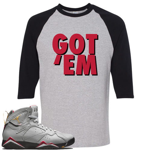 Air Jordan 7 Reflections of a Champion Sneaker Match Got Em Sports Gray and Black Raglan T-Shirt