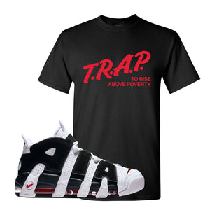 Air More Uptempo White Black Red T Shirt | Black, Trap To Rise Above Poverty