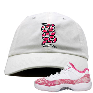 Air Jordan 11 Low WMNS Pink Snakeskin Sneaker Hook Up Coiled Snake White Dad Hat