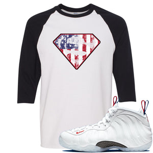 Nike WMNS Air Foamposite One USA Sneaker Hook Up Distressed Super Logo White and Black Raglan T-Shirt