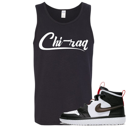 Air Jordan 1 High React White Black Sneaker Match Chi-raq Black Mens Tank Top