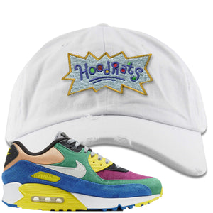 Nike Air Max 90 Viotech 2.0 Sneaker Hook Up Hoodrats White Distressed Dad Hat