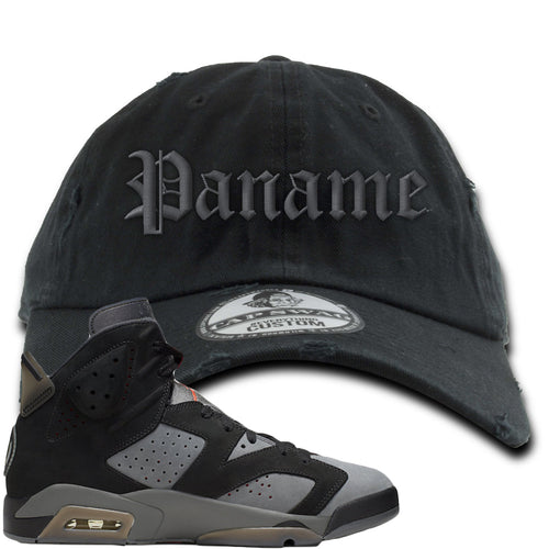 Air Jordan 6 PSG Sneaker Match Paname Black Distressed Dad Hat