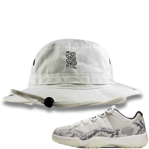 Air Jordan 11 Low Snakeskin Light Bone Sneaker Match Coiled Snake White Bucket Hat