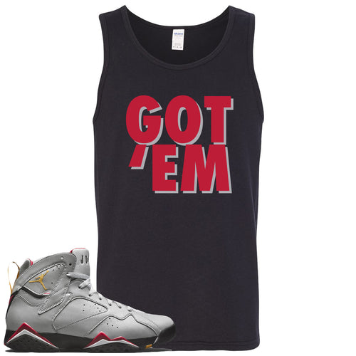 Air Jordan 7 Reflections of a Champion Sneaker Match Got Em Black Mens Tank Top