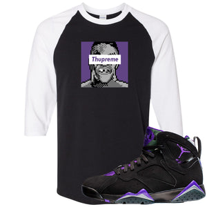 Air Jordan 7 Ray Allen Sneaker Hook Up Thupreme Black and White Raglan T-Shirt