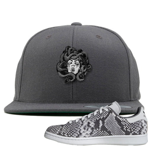Adidas Stan Smith Grey Snakeskin Sneaker Match Medusa Dark Gray Snapback
