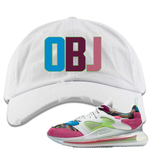 OBJ x Nike Air Max 720 Sneaker Hook Up OBJ White Distressed Dad Hat