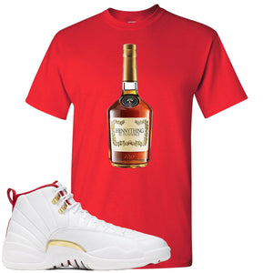 Air Jordan 12 FIBA Sneaker Hook Up Hennything is Possible Bottle Red T-Shirt
