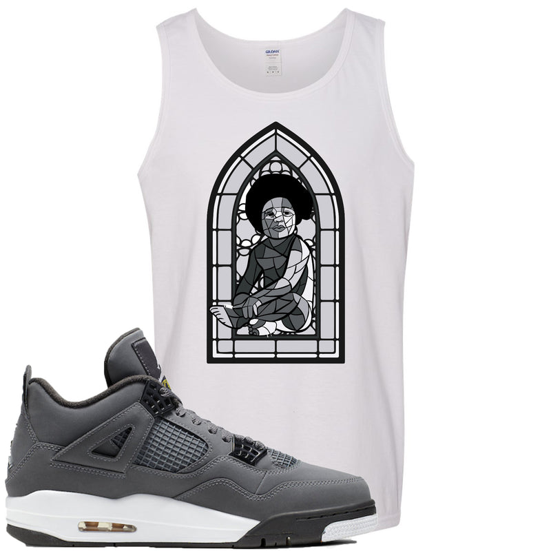 Air Jordan 4 Cool Grey 2019 Sneaker Match Stained Glass Biggie Baby White Mens Tank Top