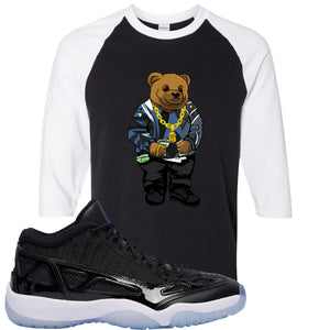 Air Jordan 11 Low IE Space Jam Sneaker Hook Up Polo Biggie Black and White Raglan T-Shirt