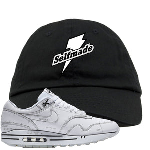 Nike Air Max 1 Sketch to Shelf White Sneaker Hook Up Self Made Black Dad Hat