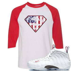 Nike WMNS Air Foamposite One USA Sneaker Hook Up Distressed Super Logo White and Red Raglan T-Shirt