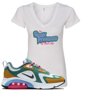 WMNS Air Max 200 Mystic Green Sneaker Hook Up Fresh Princess White Women V-Neck T-Shirt