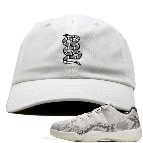 Air Jordan 11 Low Snakeskin Light Bone Sneaker Match Coiled Snake White Dad Hat