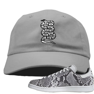 Adidas Stan Smith Grey Snakeskin Sneaker Hook Up Coiled Snake Light Grey Dad Hat