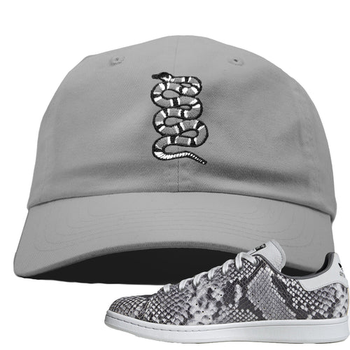 Adidas Stan Smith Grey Snakeskin Sneaker Match Coiled Snake Light Grey Dad Hat