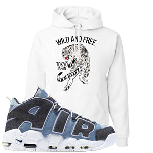 Nike Air More Uptempo Denim Sneaker Hook Up Tiger White Hoodie