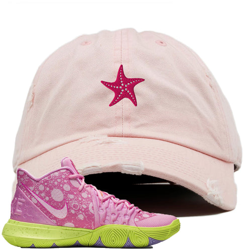Spongebob Squarepants x Nike Kyrie 5 Patrick Star Sneaker Match Starfish Light Pink Distressed Dad Hat