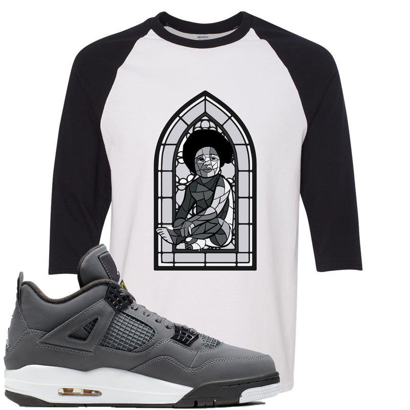 Air Jordan 4 Cool Grey 2019 Sneaker Match Stained Glass Biggie Baby White and Black Raglan T-Shirt
