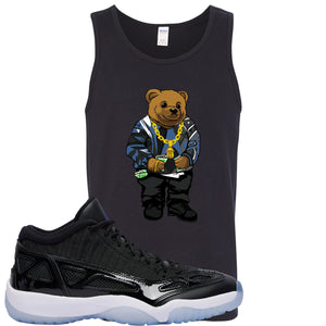 Air Jordan 11 Low IE Space Jam Sneaker Hook Up Polo Biggie Black Mens Tank Top