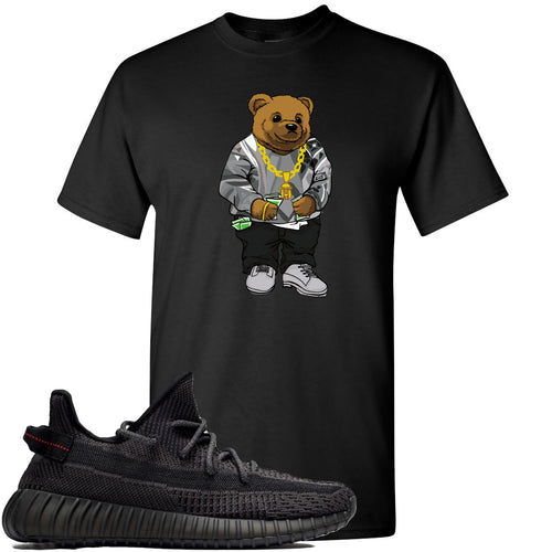 Adidas Yeezy Boost 350 v2 Black Sneaker Match Biggie Bear Black T-Shirt