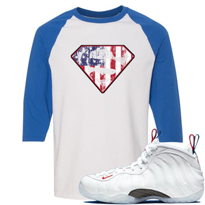 Nike WMNS Air Foamposite One USA Sneaker Hook Up Distressed Super Logo White and Blue Raglan T-Shirt