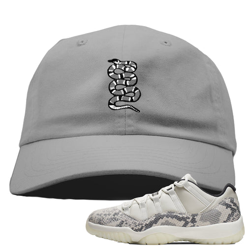 Air Jordan 11 Low Snakeskin Light Bone Sneaker Match Coiled Snake Gray Dad Hat