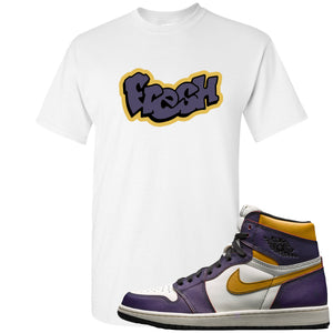 Nike SB x Air Jordan 1 OG Court Purple Sneaker Hook Up Fresh White T-Shirt