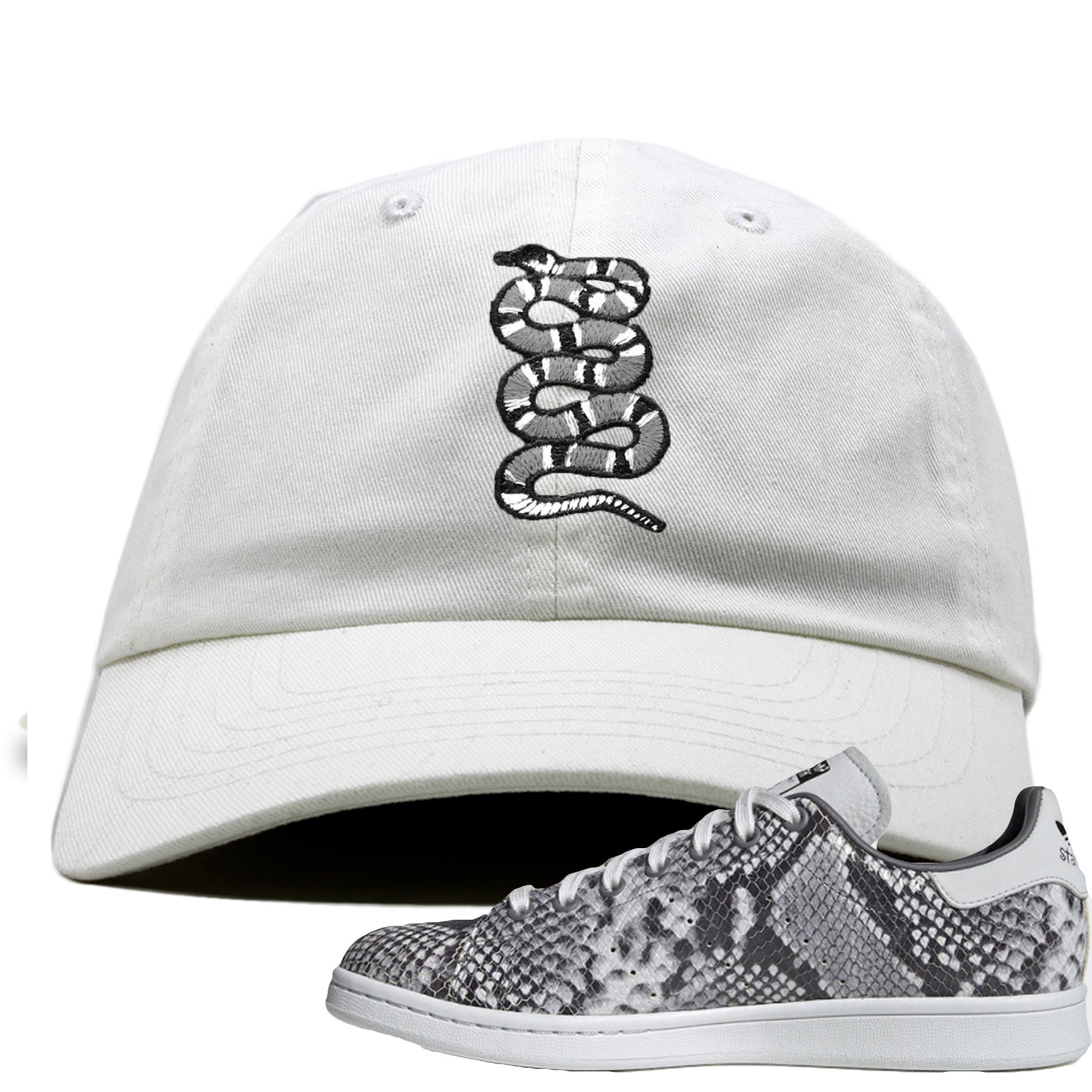 meilleures baskets couleur rapide lisse Adidas Stan Smith Grey Snakeskin Sneaker Match Coiled Snake White Dad Hat