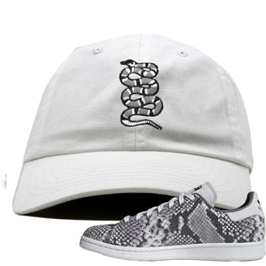 Adidas Stan Smith Grey Snakeskin Sneaker Hook Up Coiled Snake White Dad Hat