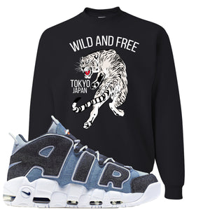 Nike Air More Uptempo Denim Sneaker Hook Up Tiger Black Sweater