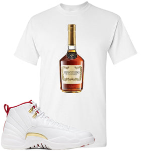 Air Jordan 12 FIBA Sneaker Hook Up Hennything is Possible Bottle White T-Shirt
