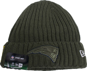 the new england patriots 2017 salute to service winter knit cuff beanie is military green