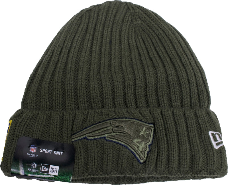 the new england patriots 2017 nfl salute to service beanie has a green patriots logo in the front