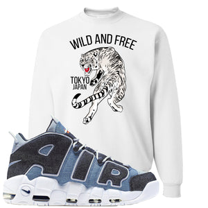 Nike Air More Uptempo Denim Sneaker Hook Up Tiger White Sweater