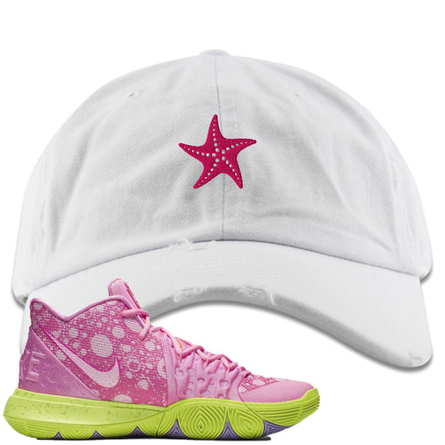 Spongebob Squarepants x Nike Kyrie 5 Patrick Star Sneaker Match Starfish White Distressed Dad Hat