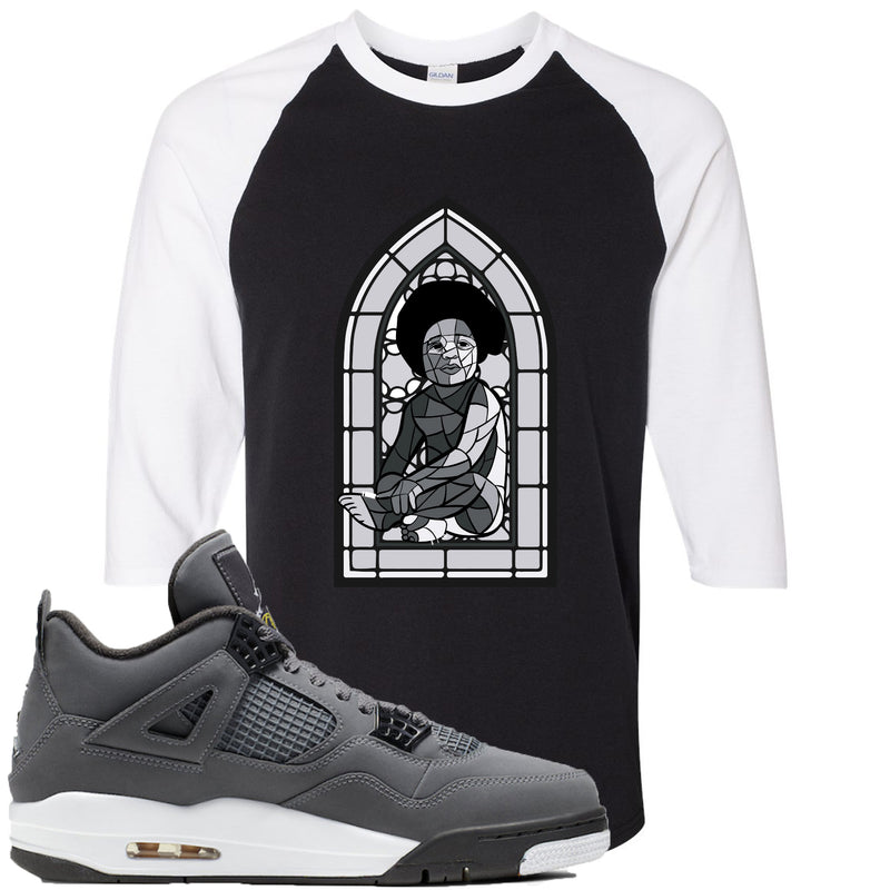 Air Jordan 4 Cool Grey 2019 Sneaker Hook Up Stained Glass Baby Black and White Raglan T-Shirt
