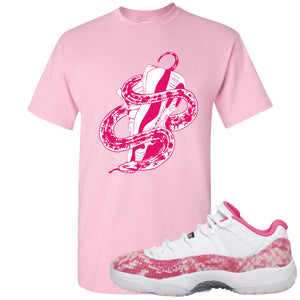 Air Jordan 11 Low WMNS Pink Snakeskin Sneaker Hook Up Snake With Shoe Light Pink T-Shirt