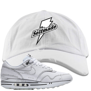 Nike Air Max 1 Sketch to Shelf White Sneaker Hook Up Self Made White Distressed Dad Hat
