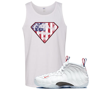 Nike WMNS Air Foamposite One USA Sneaker Hook Up Distressed Super Logo White Mens Tank Top